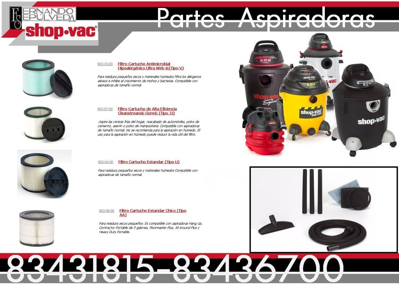 Filtro Shop-vac de Cartucho Antimicrobial  Hipoalergénico Ultra Web