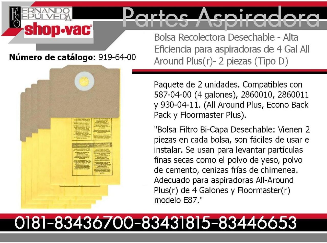 Bolsa Recolectora Desechable Aspiradora Shop-vac - Alta Eficiencia  4 Galones Modelo All Around Plus  Tipo D