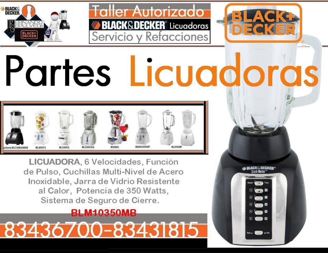 REFACCIONES LICUADORAS BLM10350MB BLACK AND DECKER