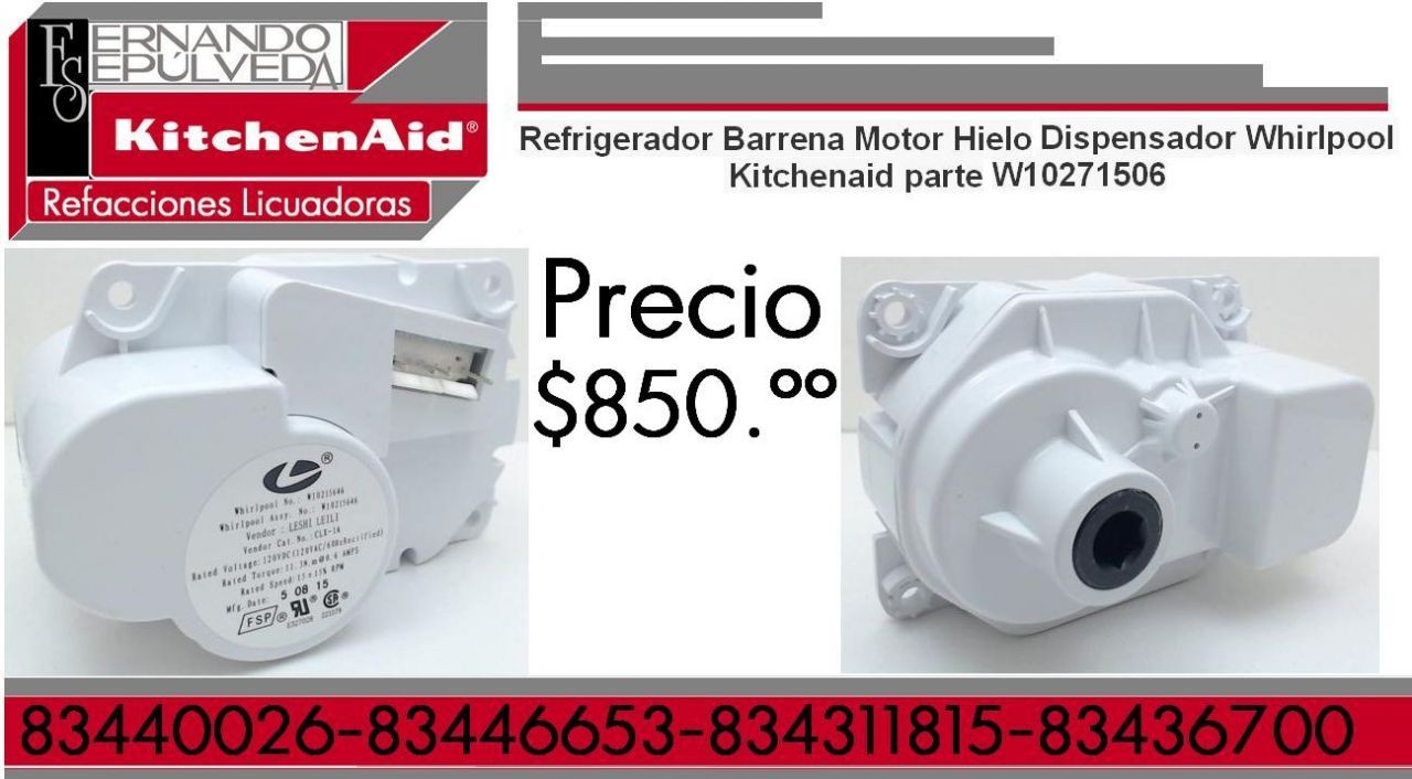 Refrigerador Barrena Motor Hielo Dispensador Whirlpool Kitchenaid parte W10271506